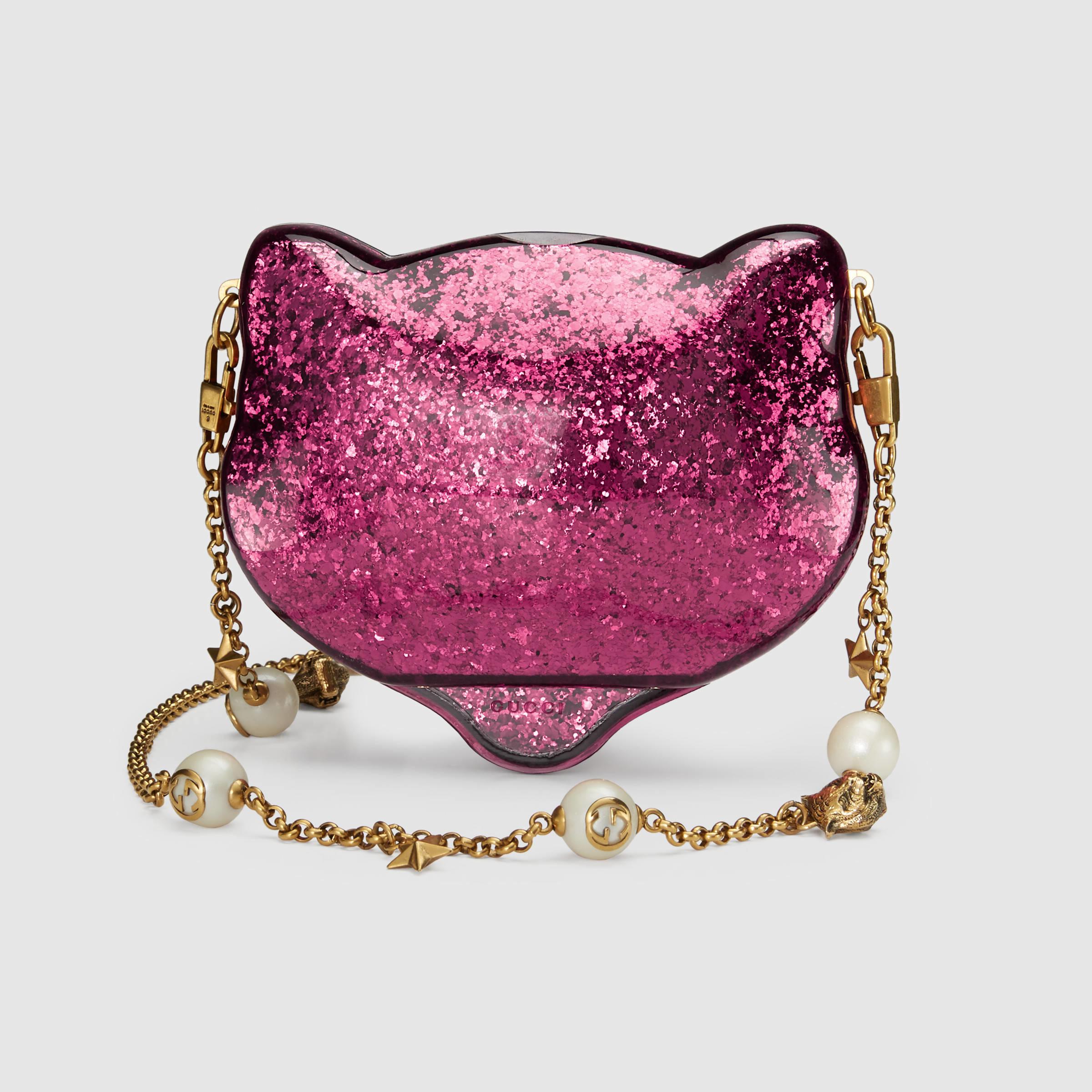 e11760dc96d Lyst - Gucci Glitter Plexiglass Cat Clutch in Pink