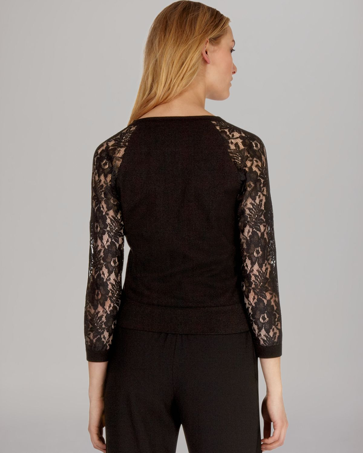 Karen millen Cardigan Knit Lace Sleeve in Black | Lyst