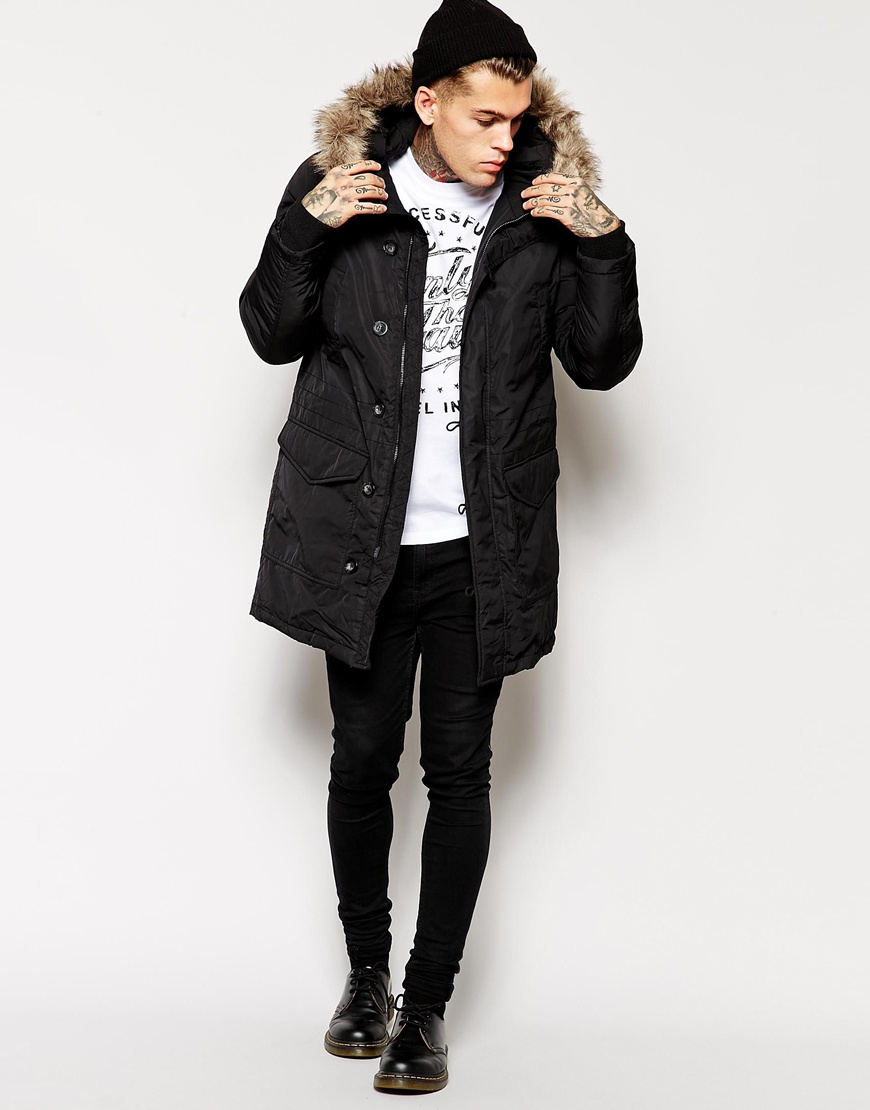 268e33c4f2a05 Lyst - DIESEL Kirton Parka Coat With Faux Fur Hood in Black for Men
