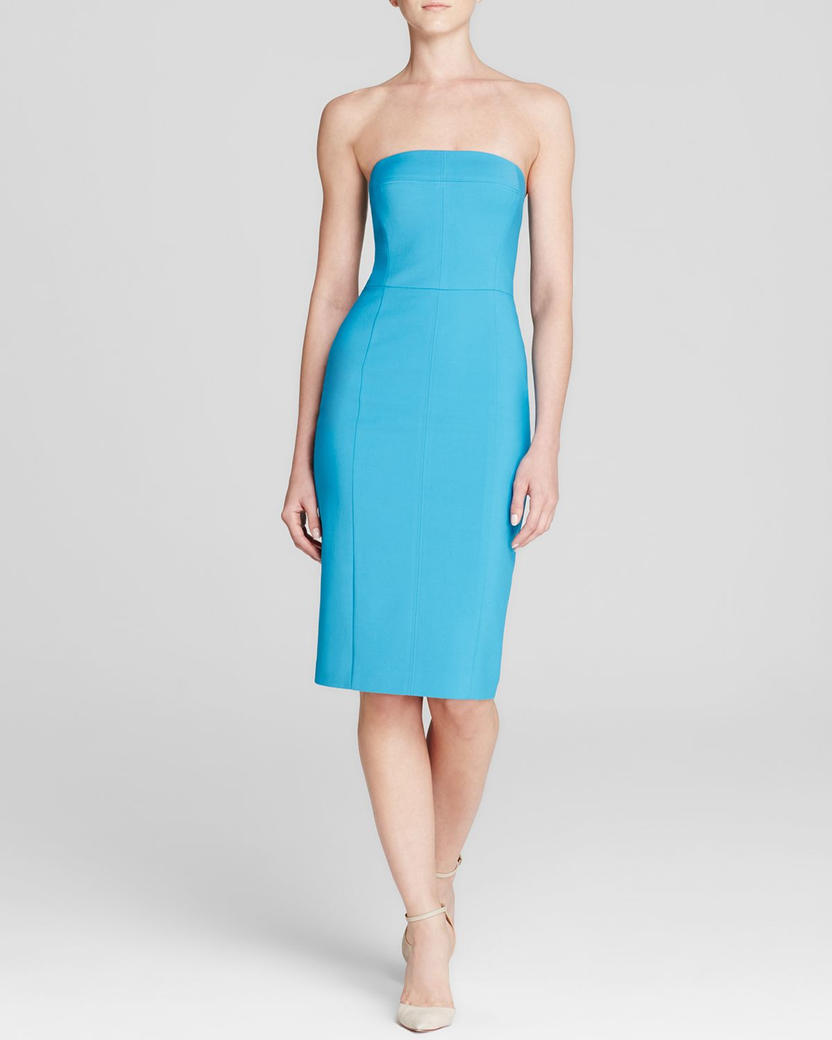 Black halo Olsen Strapless Sheath Dress in Blue | Lyst