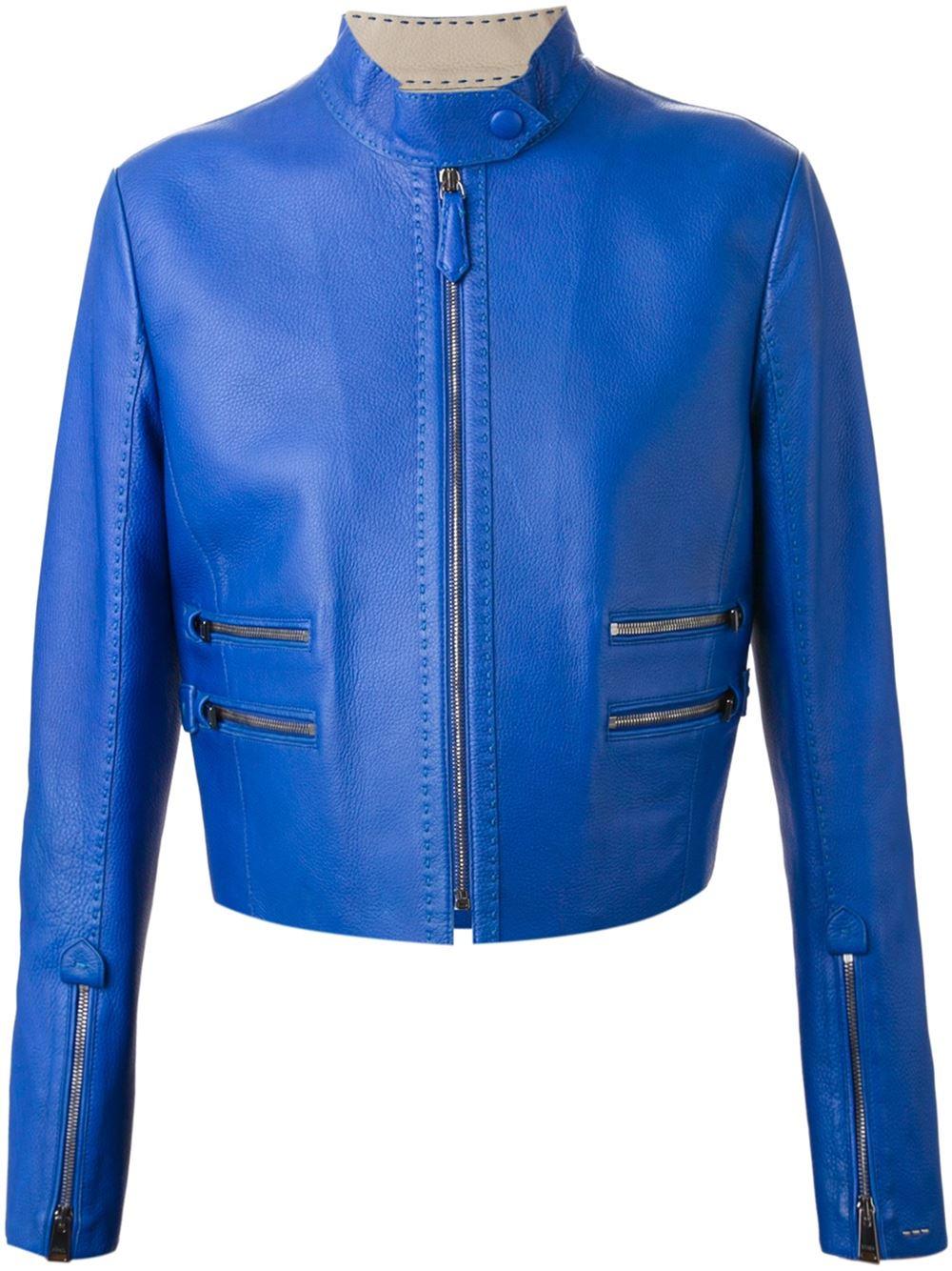 Lyst - Fendi Cropped Biker Jacket in Blue
