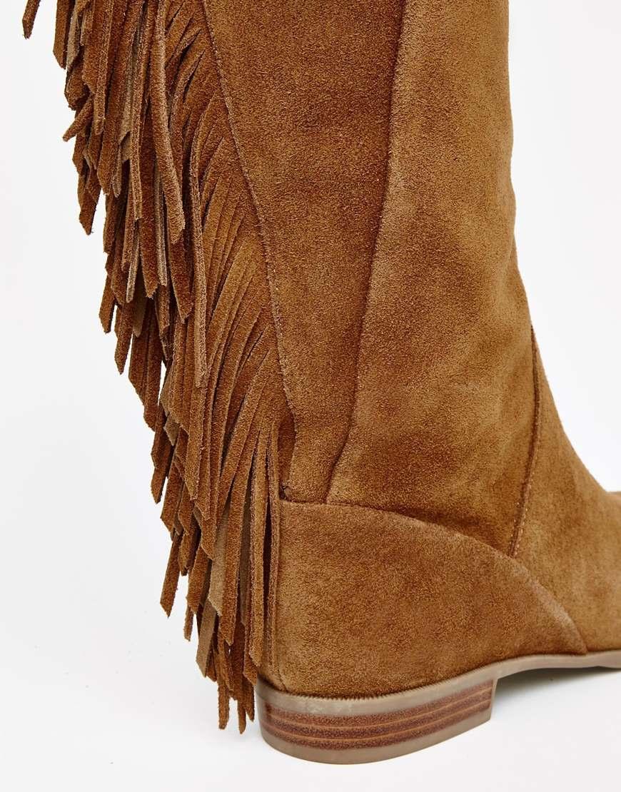 Aldo Cyndy Tan Suede Fringe Knee Boots in Brown | Lyst
