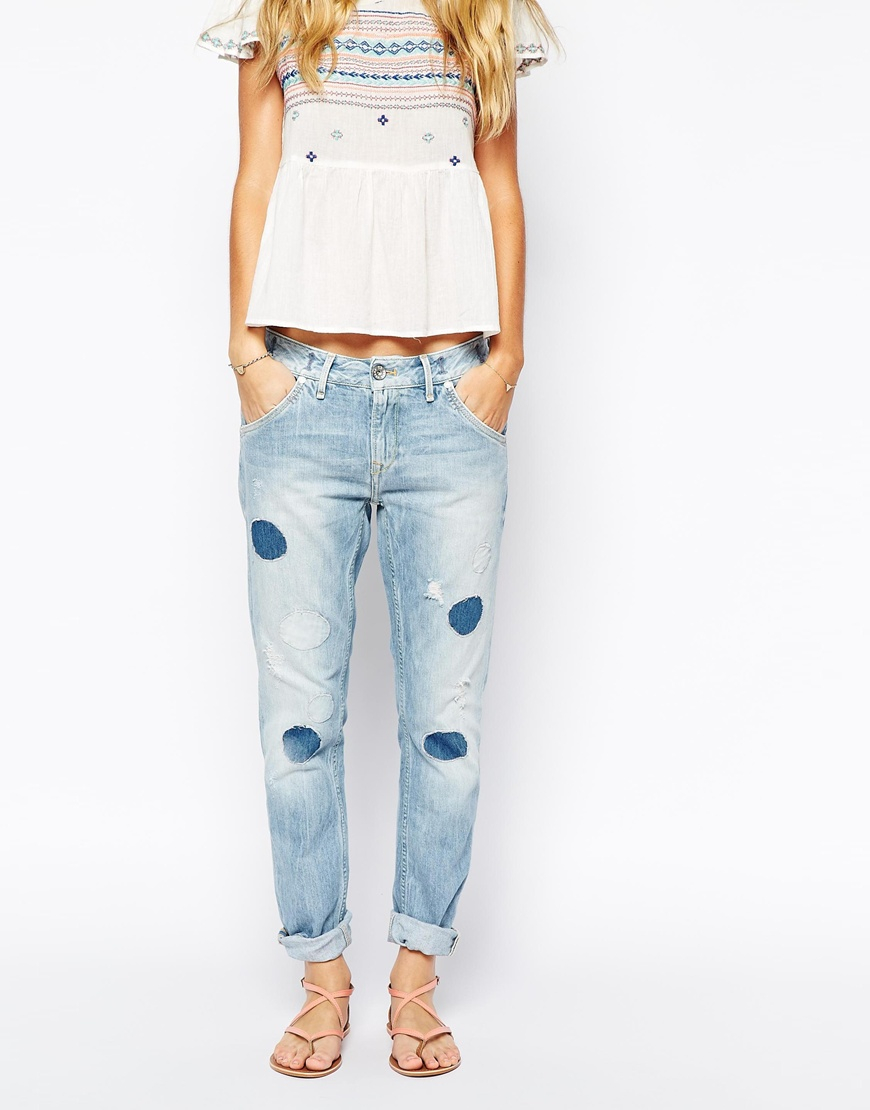 Pepe jeans Boyfriend Jeans With Cut Out Patches in Blue | Lyst