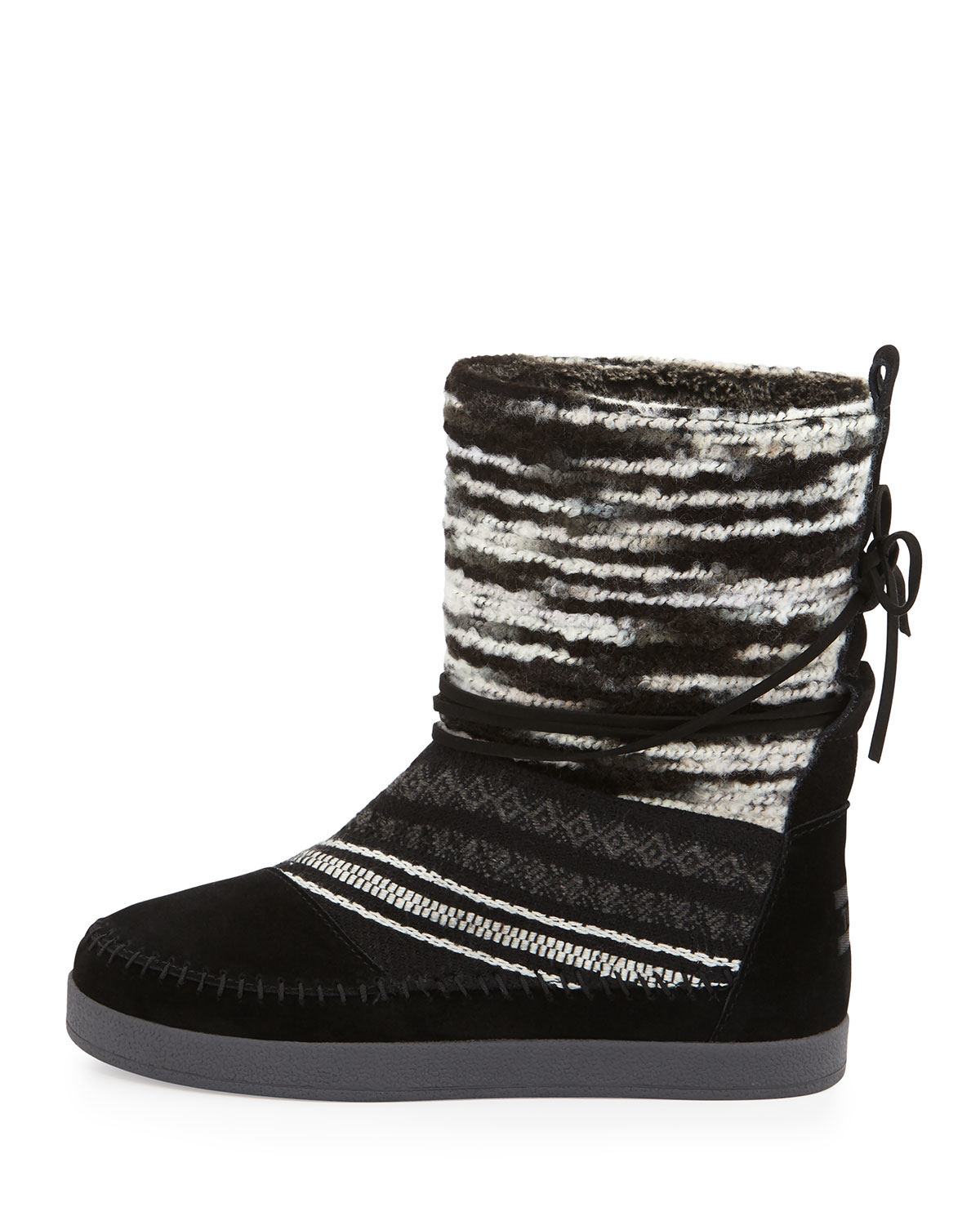 toms nepal striped suede boots in black lyst