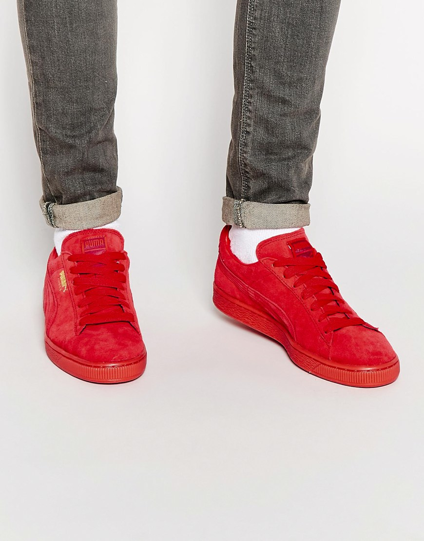 7dca392e8ec Lyst - PUMA Suede Mono Trainers in Red for Men