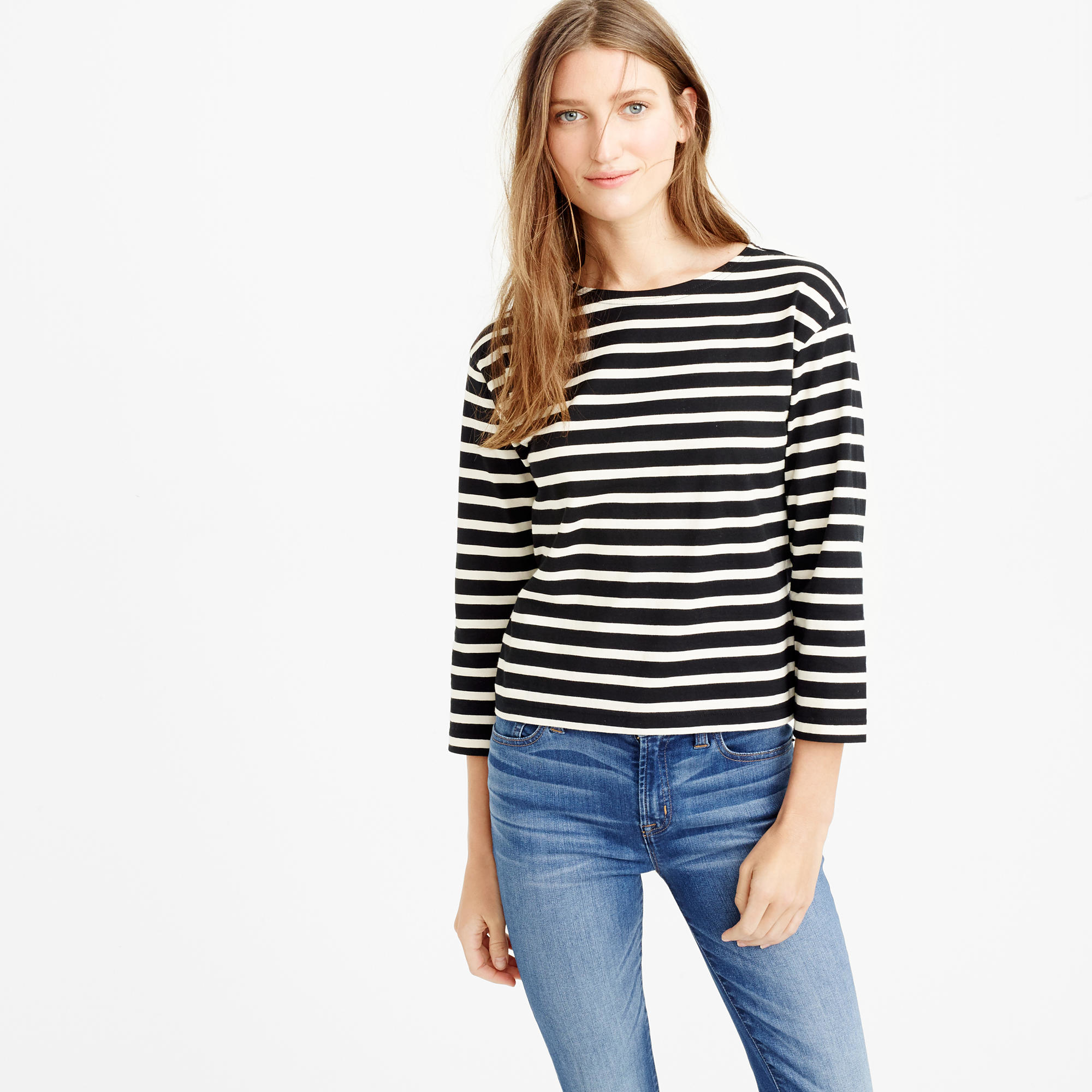 Long sleeve striped crewneck t shirt in black lyst for Black and white striped long sleeve shirt women