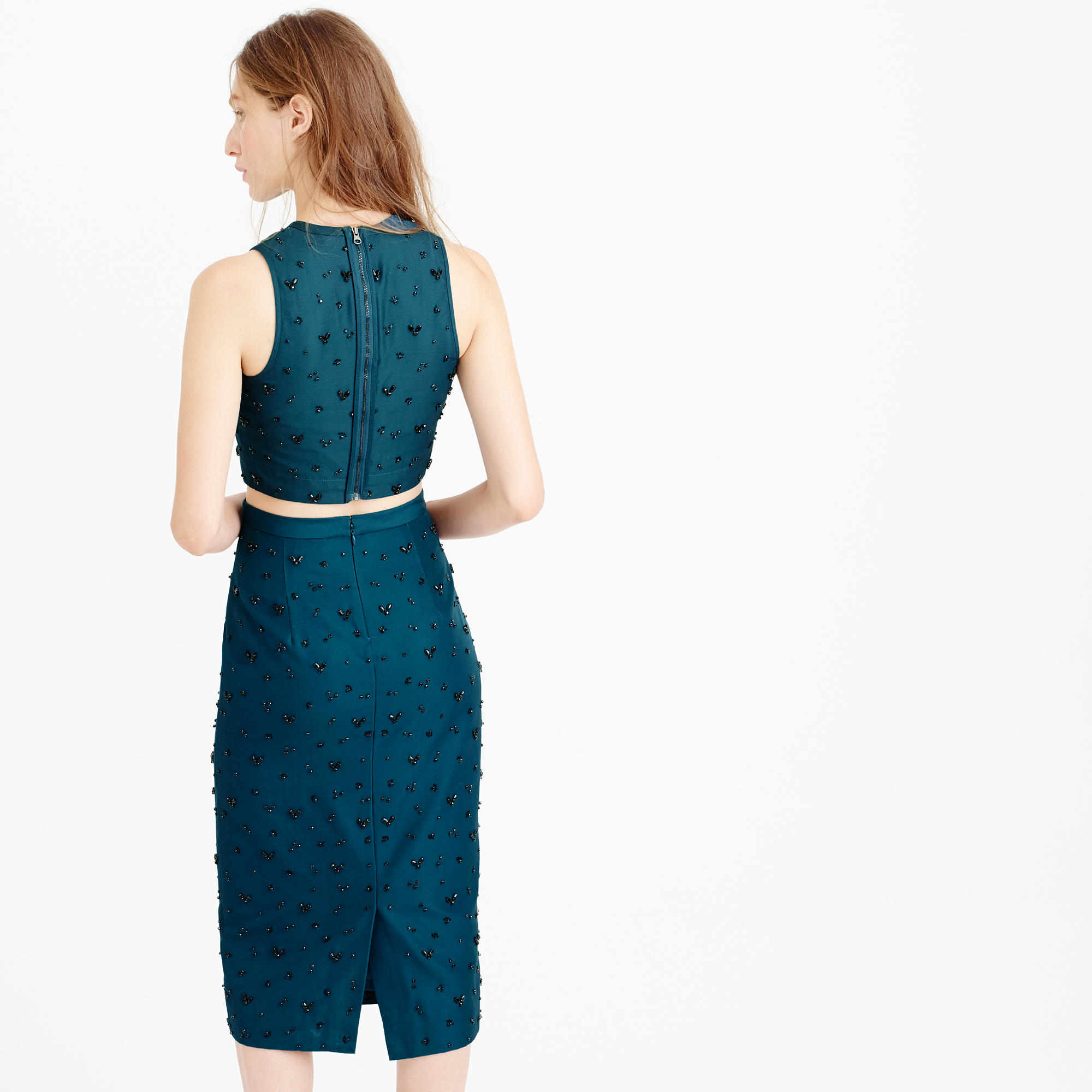 J Crew Collection Beaded Pencil Skirt In Blue Lyst