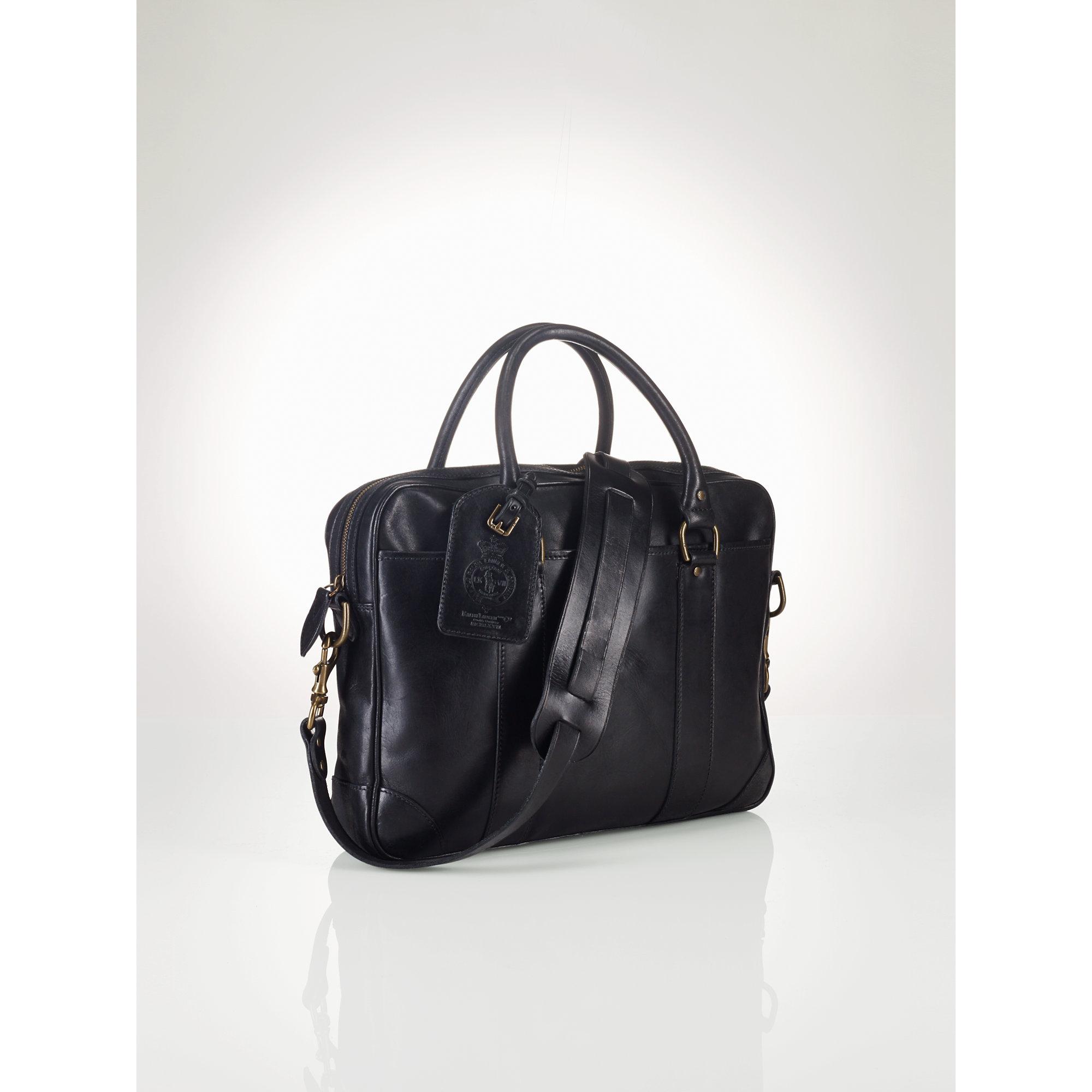 474e01e0188f ... wholesale lyst polo ralph lauren soft leather briefcase in black for men  38dcc bfdd4
