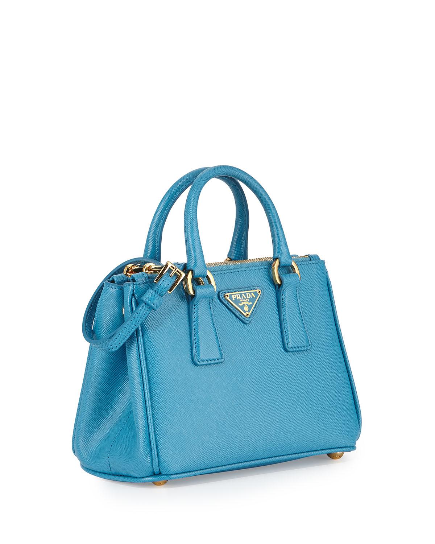 716adb4e41 ... top quality lyst prada saffiano mini galleria crossbody bag in blue  db1bb c5aac