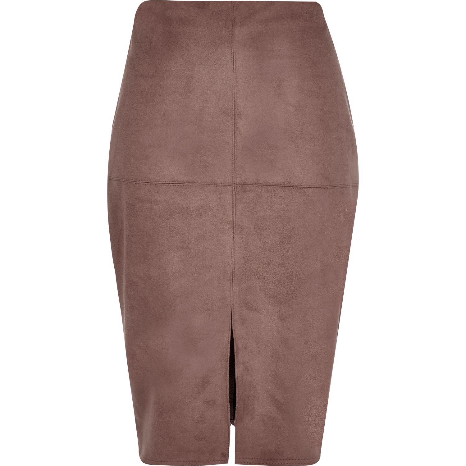 986d3588d Lyst - River Island Brown Faux-suede Split Front Pencil Skirt in Brown