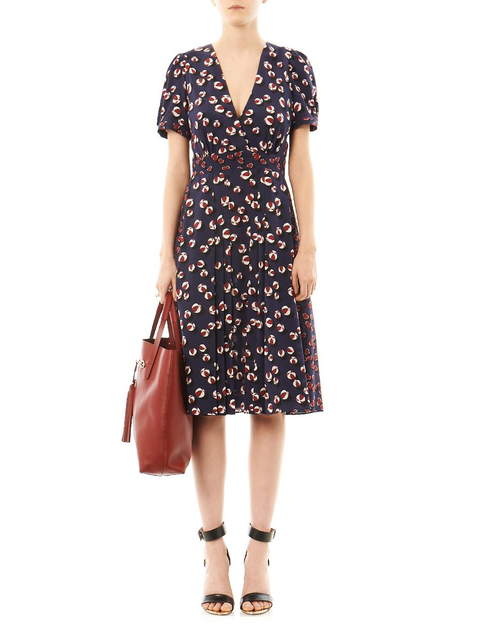 Gucci Bow And Heart Print Tea Dress In Blue Red Lyst