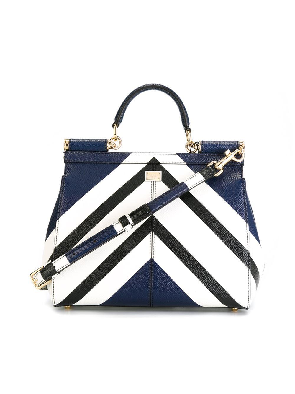 6545547915 Lyst - Dolce   Gabbana Striped Print Miss Sicily Medium Handbag in Blue