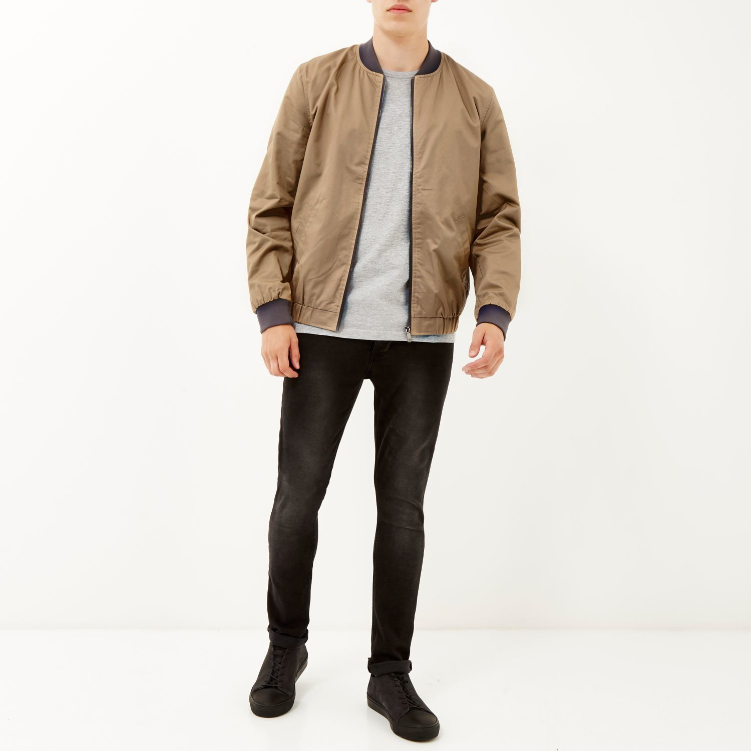 River island Brown Casual Contrast Neck Bomber Jacket in Brown for ...