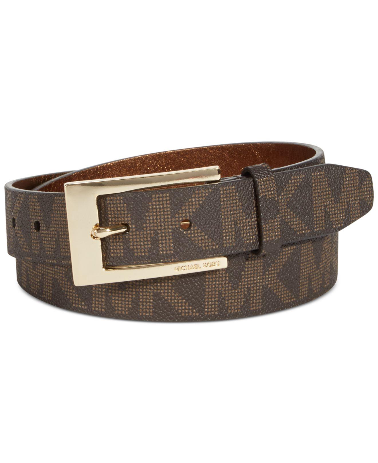 michael kors michael logo belt with plaque buckle in brown