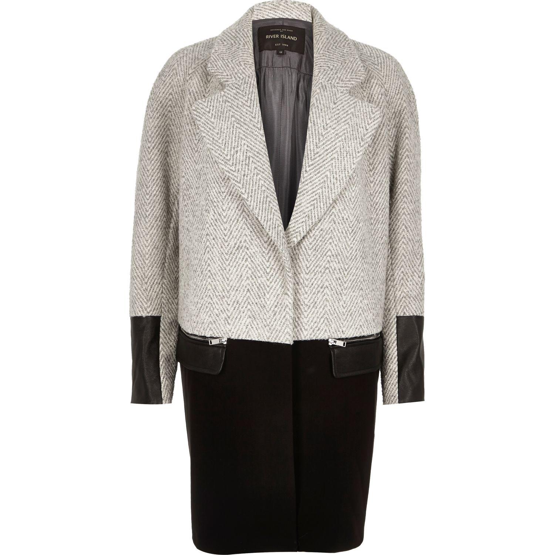 River island Grey Wool-blend Herringbone Winter Coat in Black | Lyst