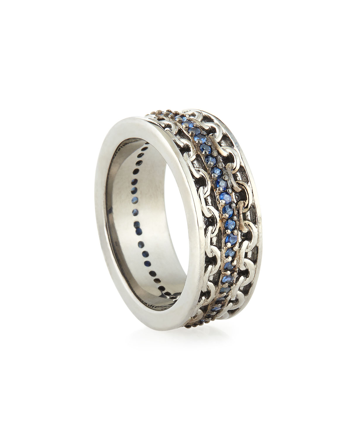 stephen webster mens silver ring with blue sapphire in. Black Bedroom Furniture Sets. Home Design Ideas