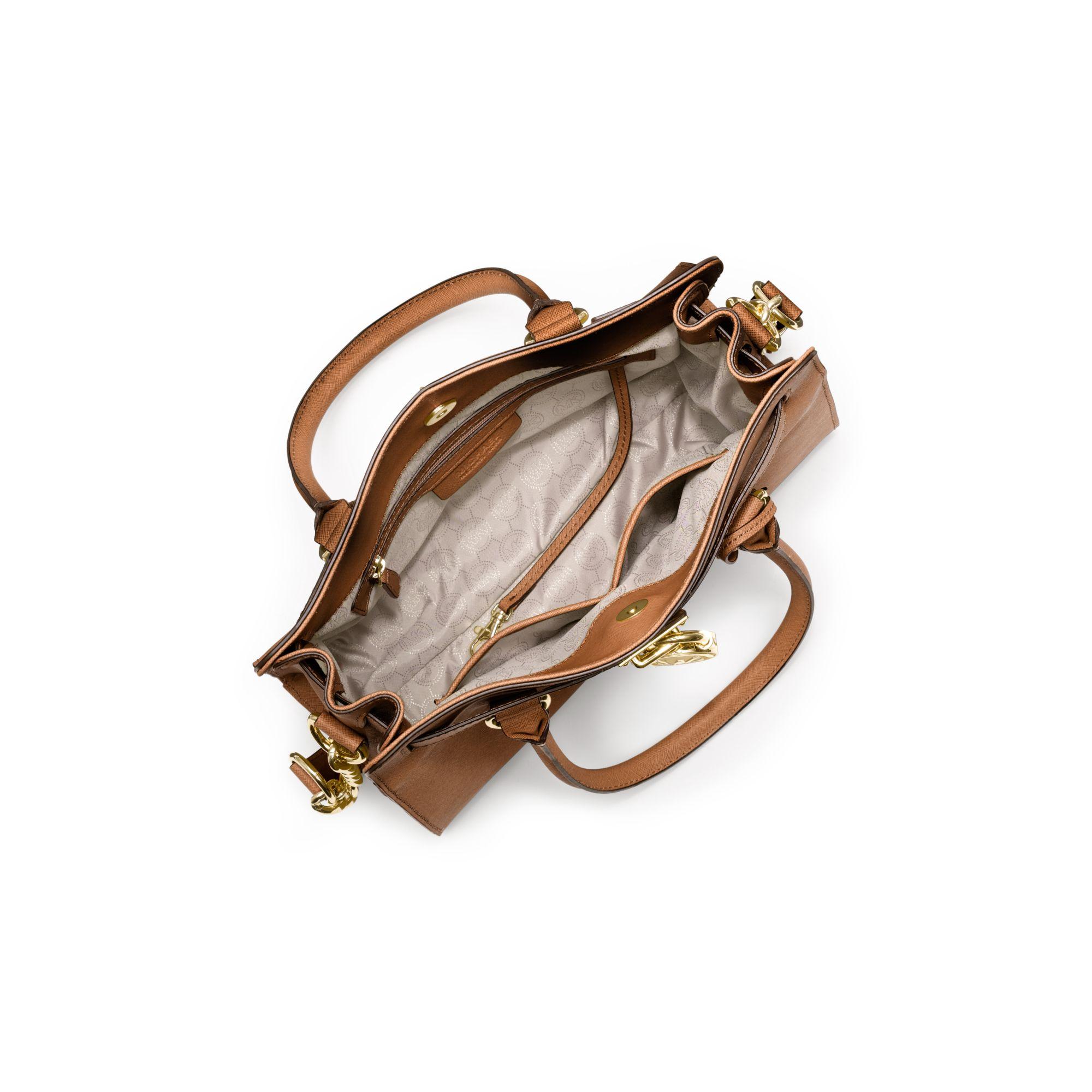 8268575566df Michael Kors Hamilton Saffiano Leather Medium Satchel in Brown - Lyst