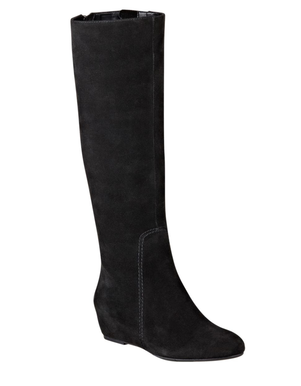 nine west myrtle suede wedge boots in black lyst