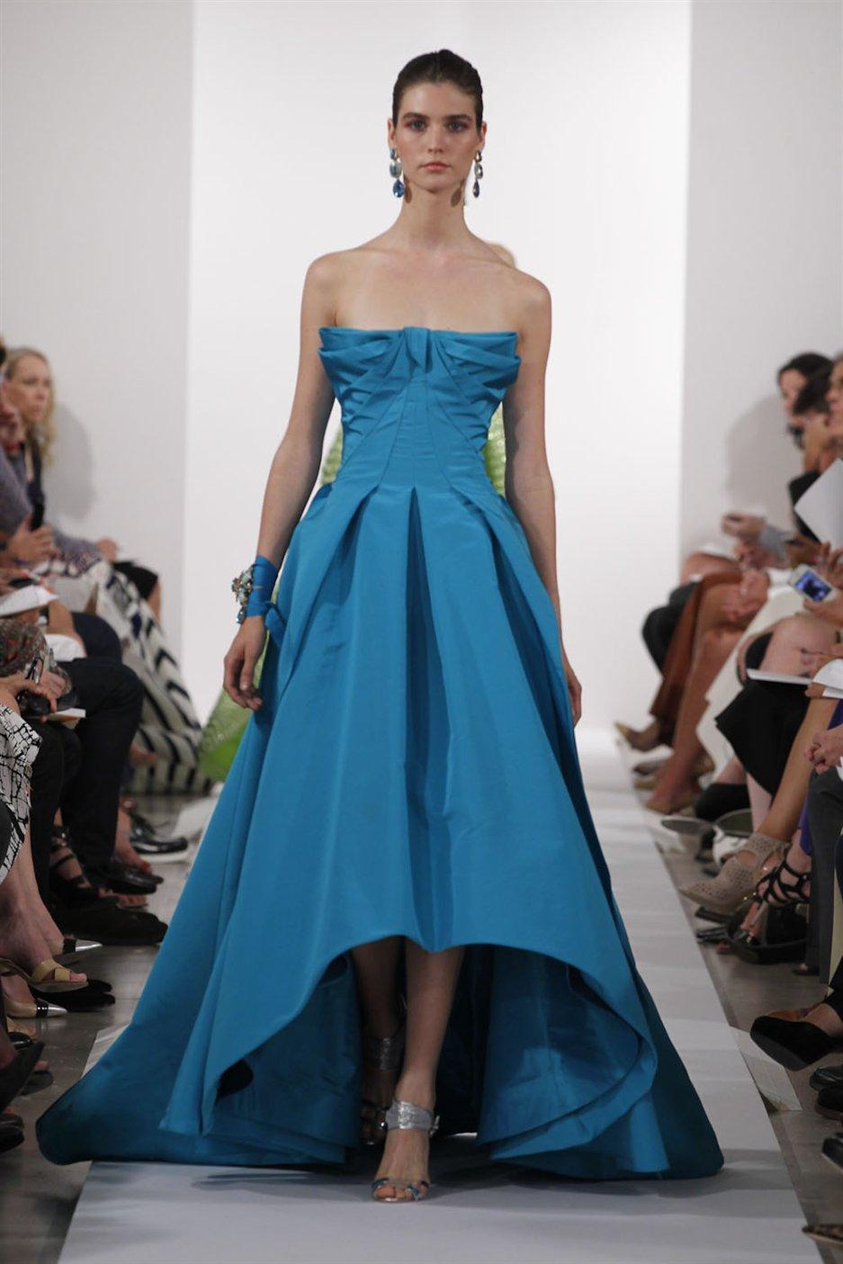 Lyst - Oscar De La Renta Strapless Highlow Gown in Blue