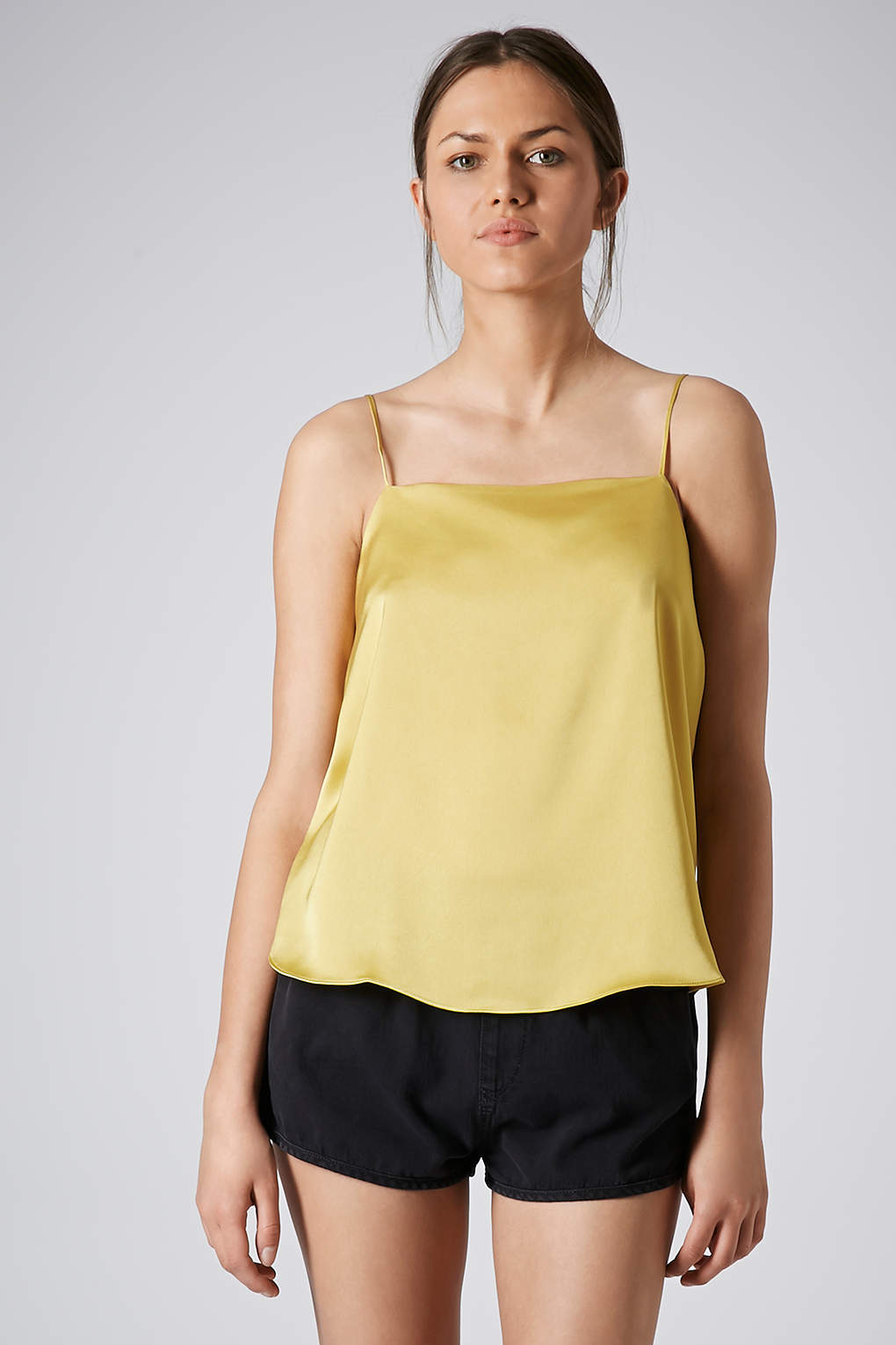 yellow satin cami topshop satin straight neck cami top in yellow lyst 7683