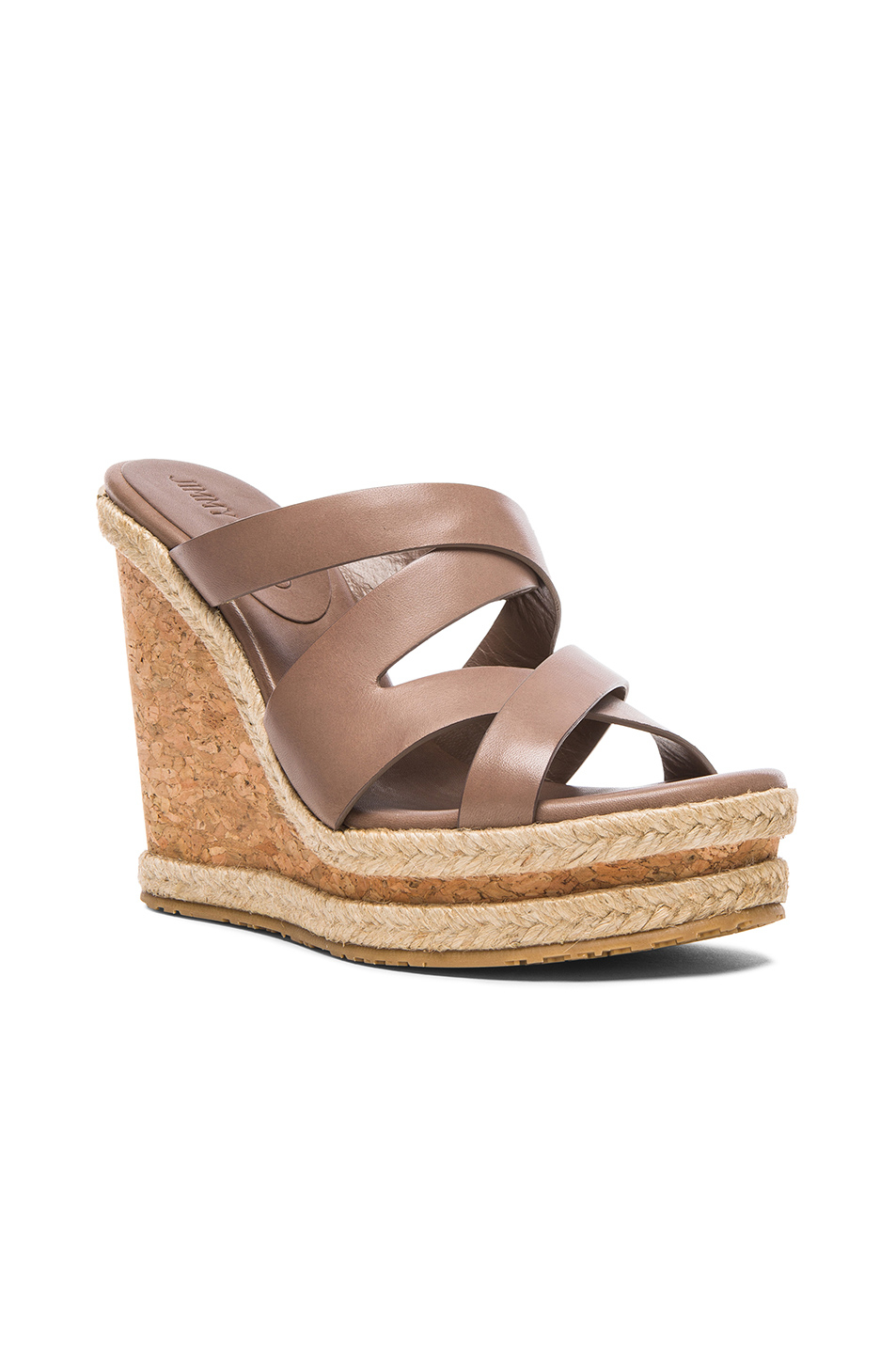 1f51e5792056 Lyst - Jimmy Choo Prisma Leather Wedges in Brown