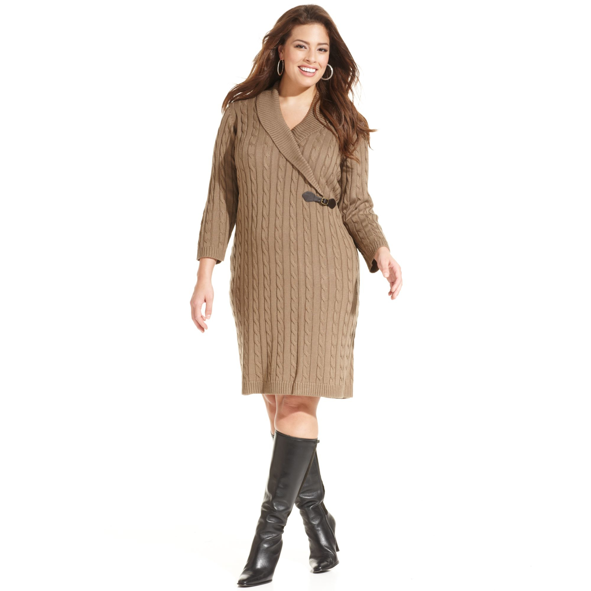 Plus Size Cable Knit Sweater Dress