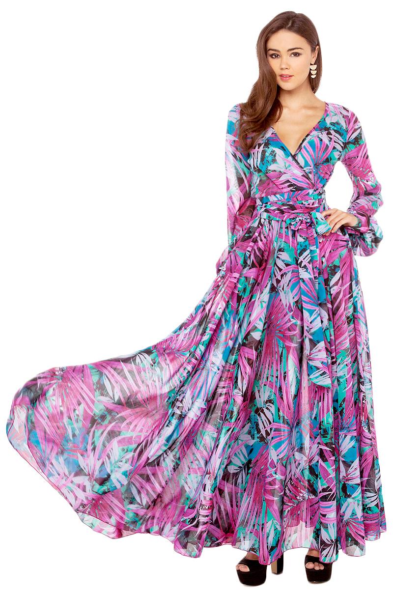 Lyst Akira Black Label Tropical Print Flowy Maxi Dress