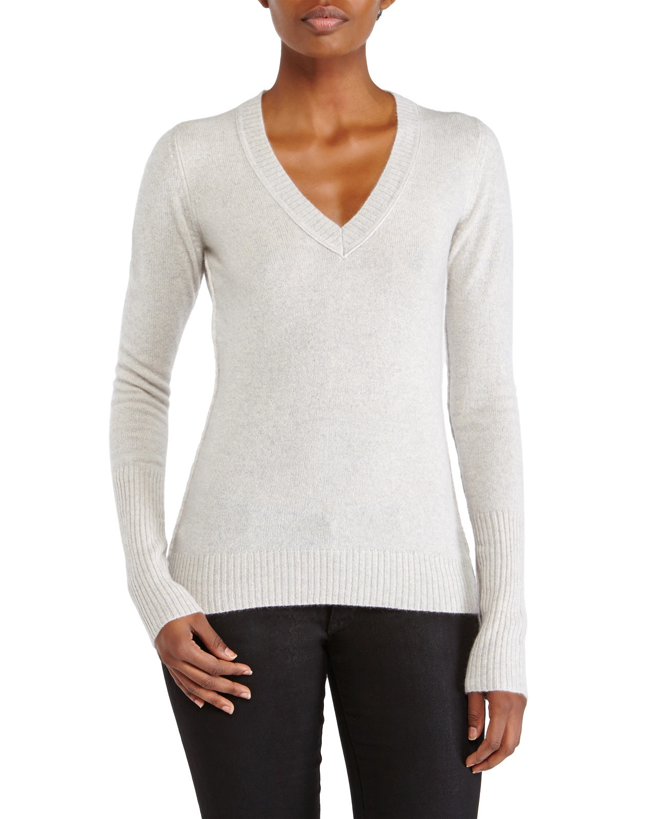 Grey Cashmere V Neck Sweater 103
