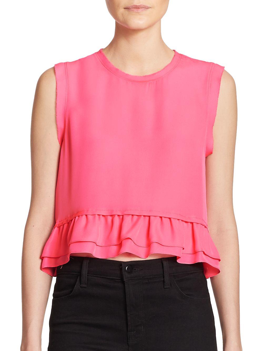 Lyst Rebecca Minkoff Tanya Silk Ruffle Trim Top In Pink