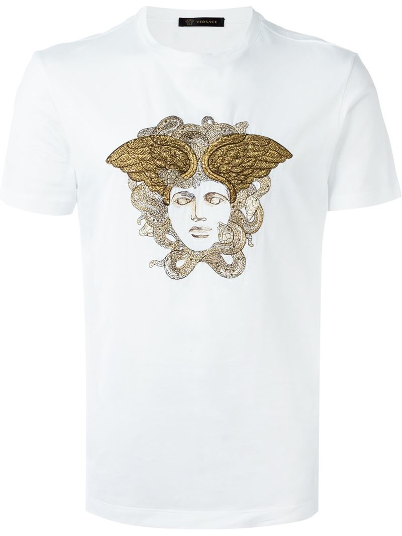 versace embroidered medusa t shirt in white for men save 21 lyst. Black Bedroom Furniture Sets. Home Design Ideas