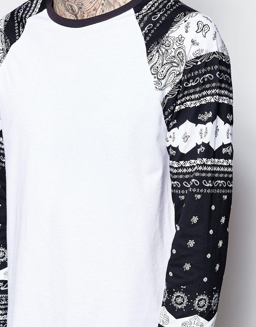 Lyst asos longline long sleeve t shirt with bandana for Print long sleeve shirt