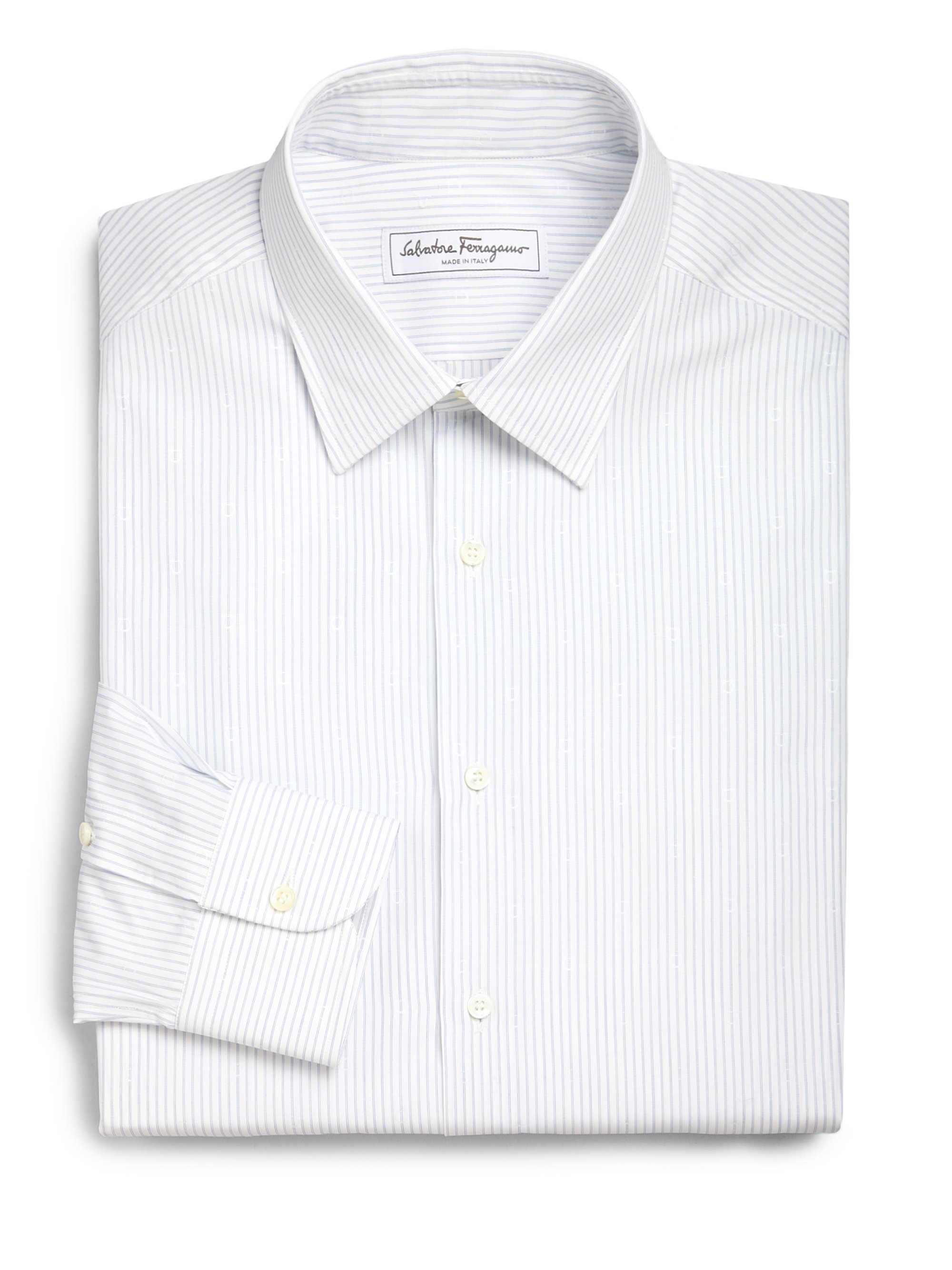 Lyst Ferragamo Striped Cotton Dress Shirt In White For Men