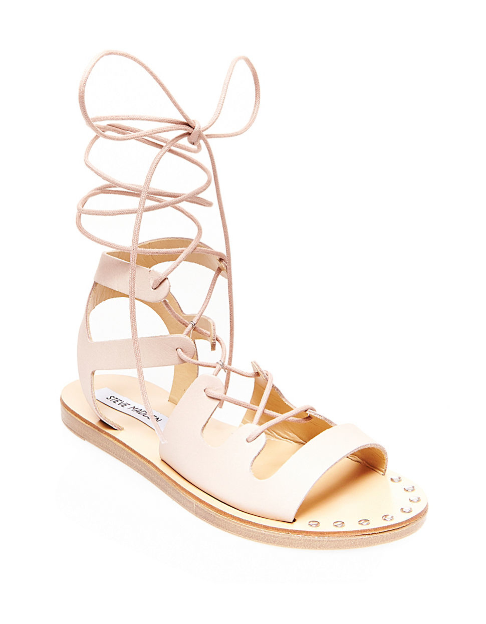 bba05888bf8 Steve Madden Natural Rella Leather Gladiator Sandals