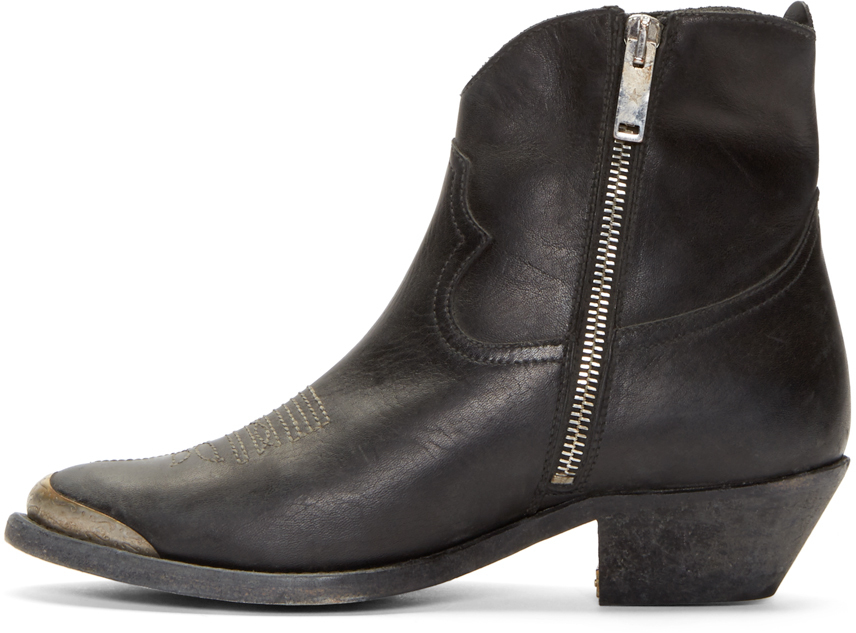 Golden goose deluxe brand Charlye Cowboy Ankle Boots in Black | Lyst