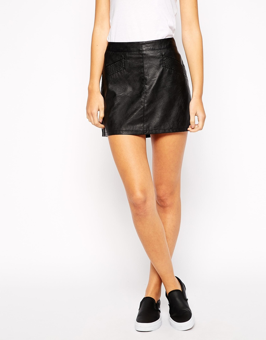 esprit leather look skirt in black lyst