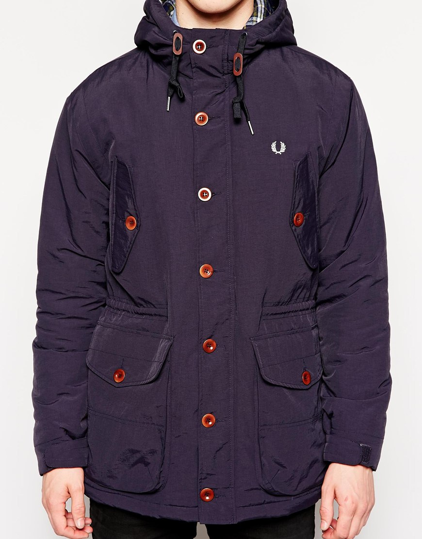 fred perry parka with hood in blue for men lyst. Black Bedroom Furniture Sets. Home Design Ideas