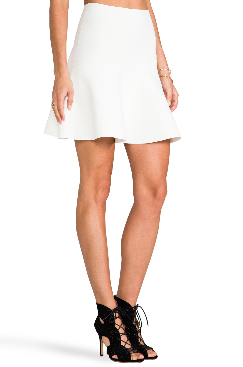 Bcbgmaxazria Fit And Flare Skirt in White | Lyst