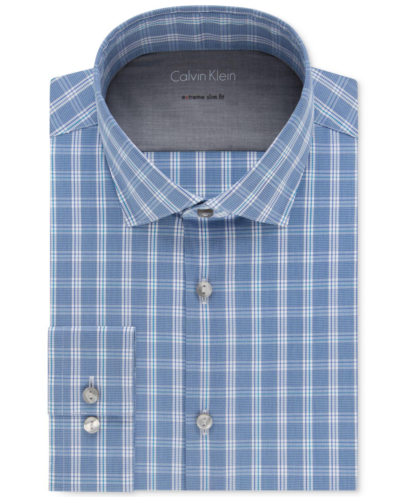 Calvin klein men 39 s x extra slim fit stretch bright blue for Calvin klein slim fit stretch shirt