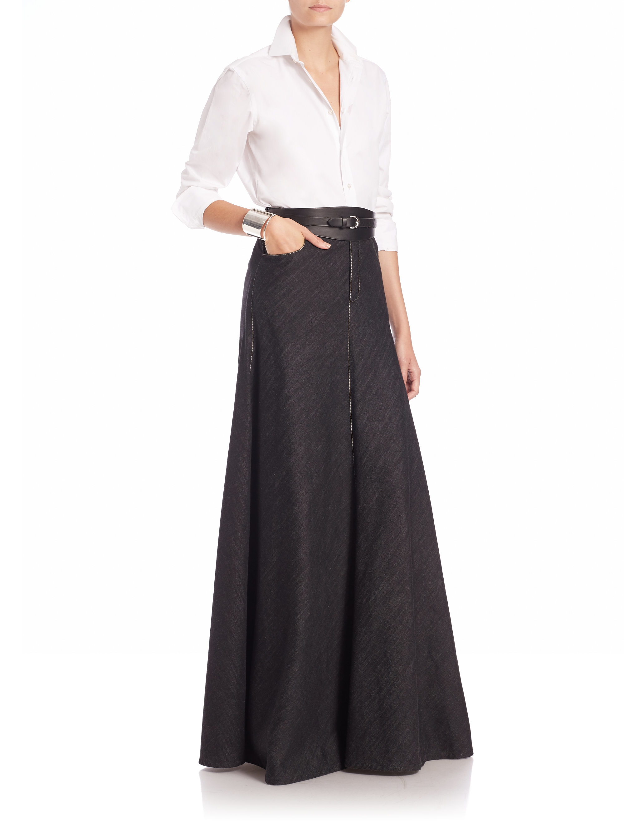 Ralph lauren collection Denisa Long Denim Skirt in Black | Lyst