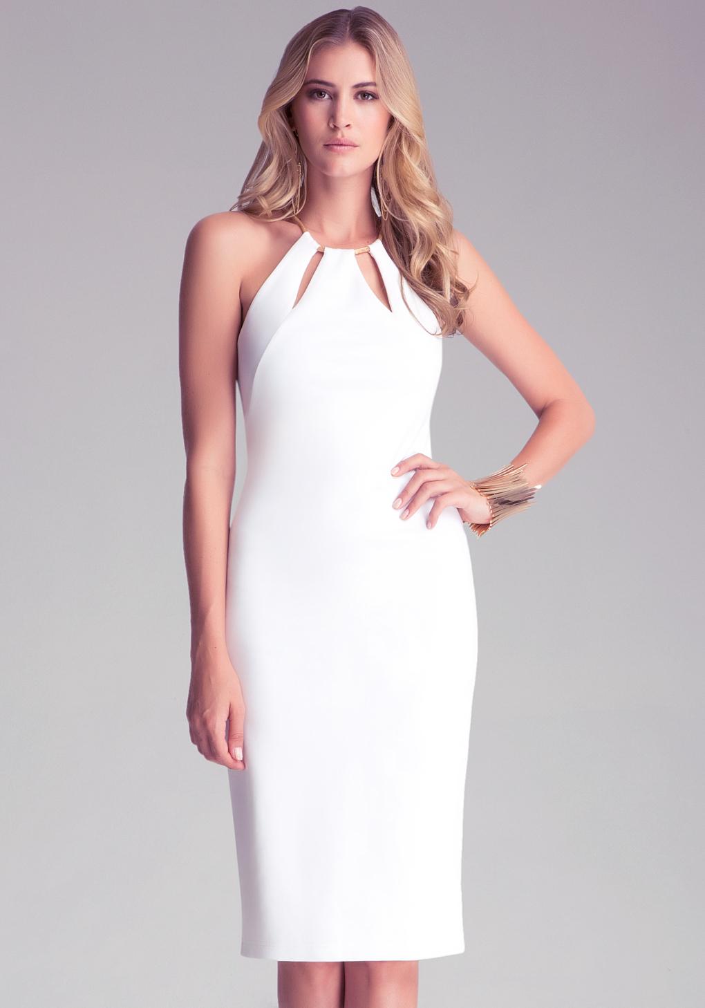 bebe keyhole neckline dress in white lyst. Black Bedroom Furniture Sets. Home Design Ideas