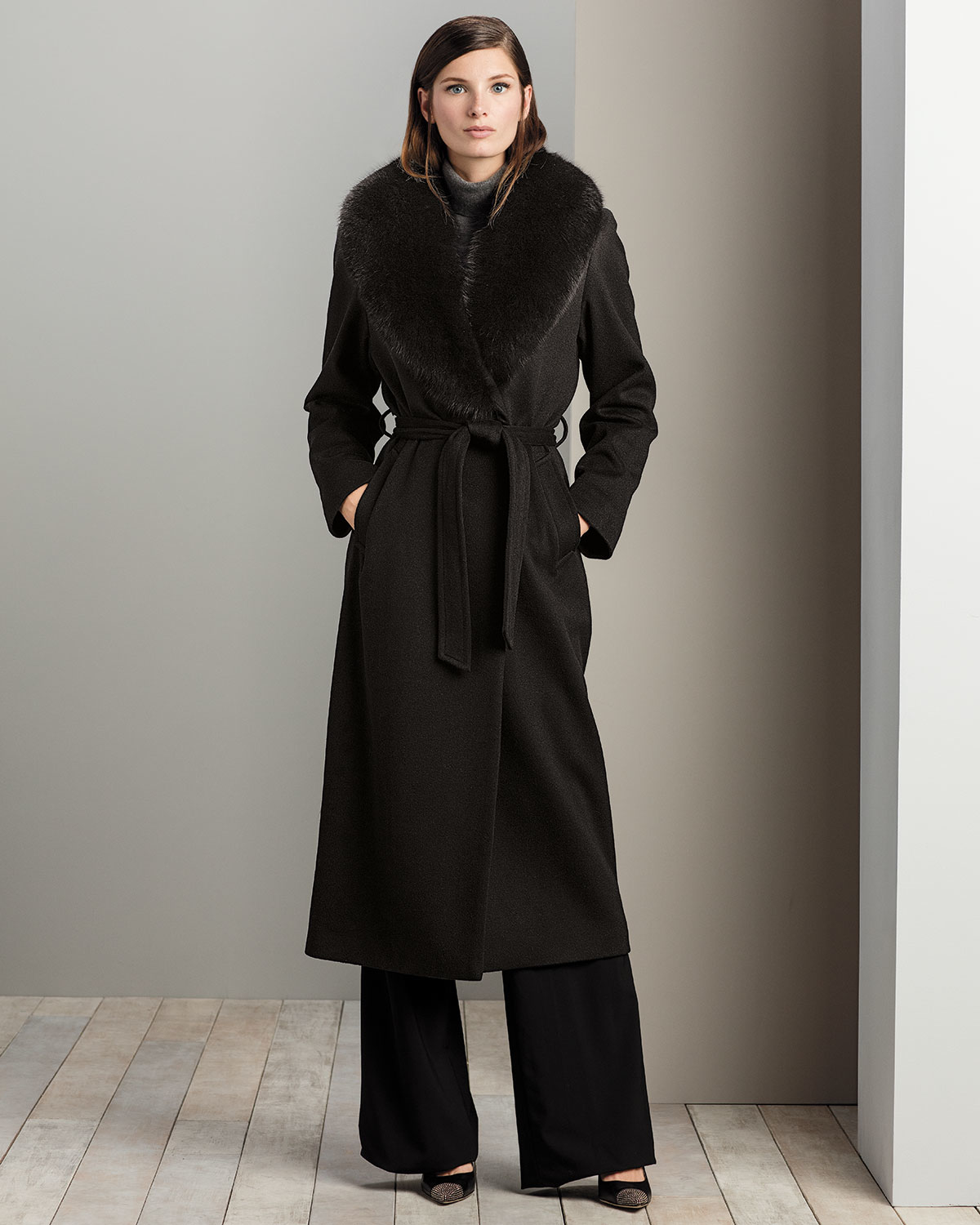 Sofia cashmere Fur-collar Belted Long Wrap Coat in Black | Lyst