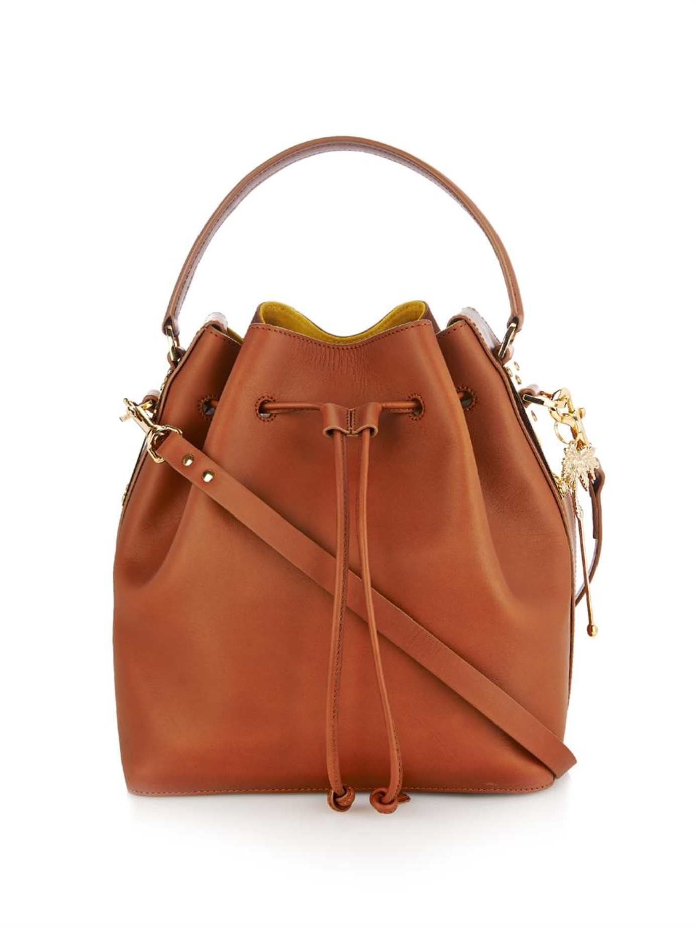 Drawstring Top Leather Bucket Bag