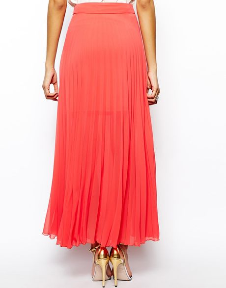 lipsy pleated maxi skirt in pink coral lyst