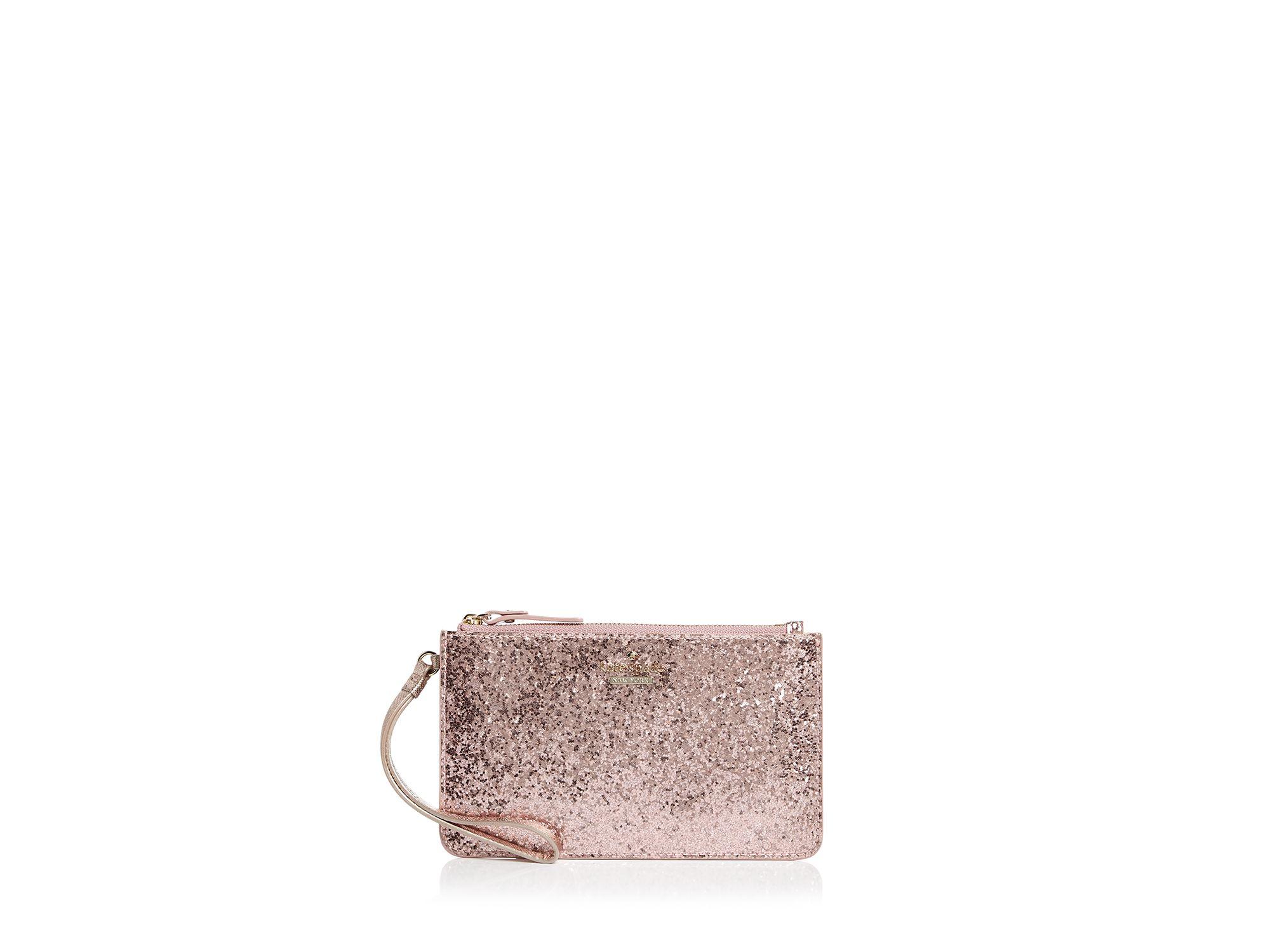 Kate Spade Glitter Bug Slim Bee Wristlet In Rose Pink Lyst