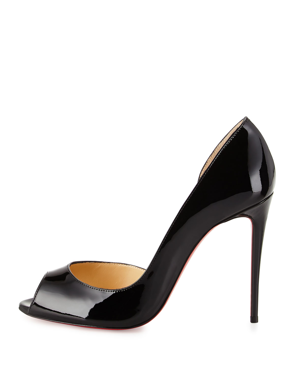 new styles c51f2 1fbaf Christian Louboutin Black Demi You Peep-Toe Leather Red-Sole Pump