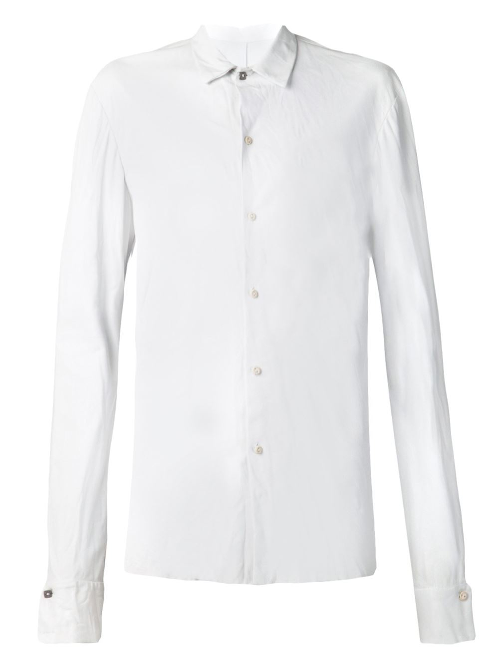 Ma leather shirt jacket in white for men lyst for Mens white leather shirt