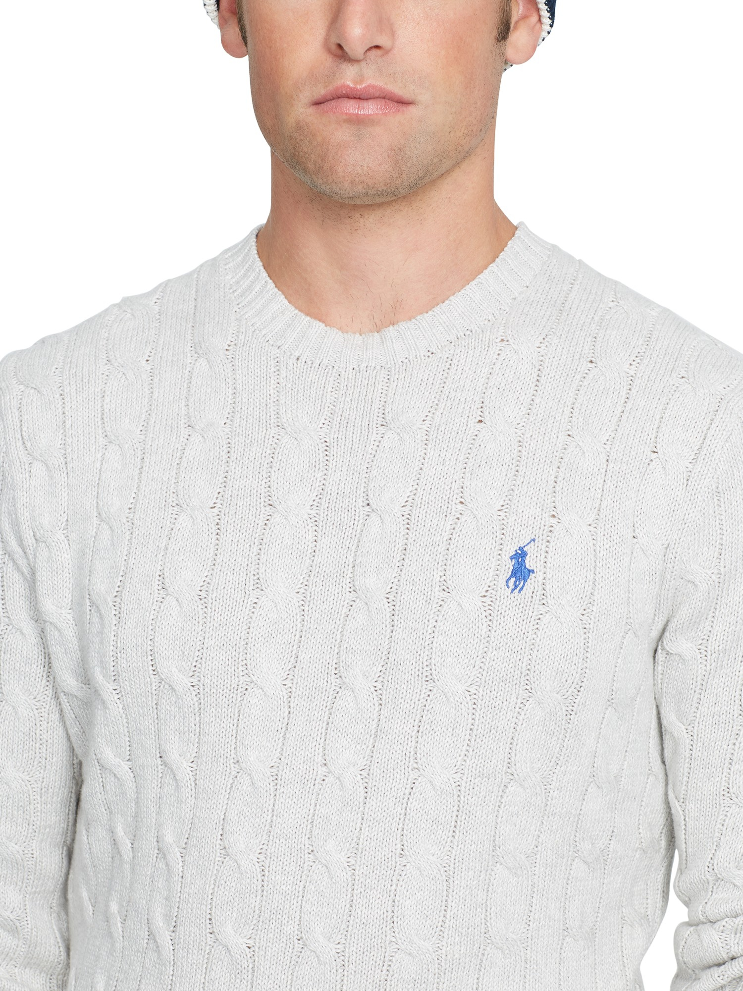 Ralph Lauren Cotton Polo Cable Knit Crew Neck Jumper In