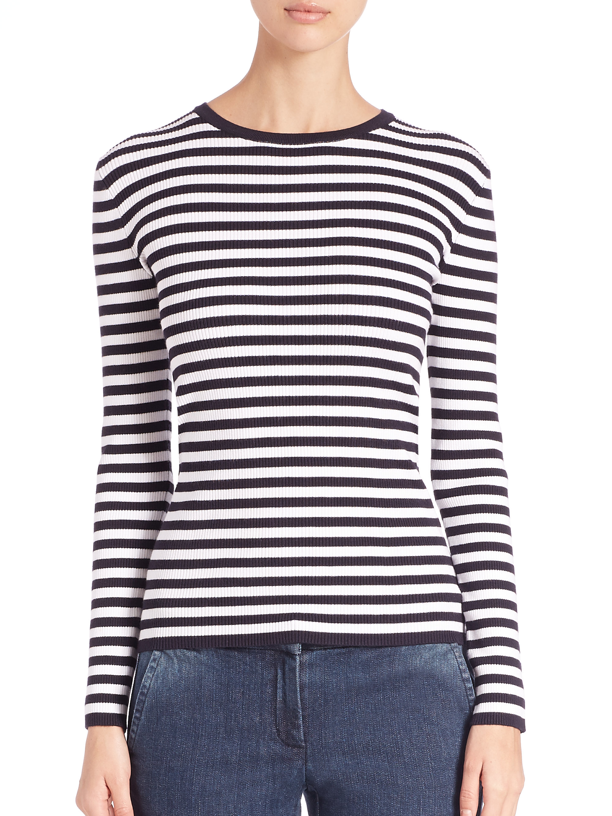 Michael michael kors Striped Ribbed Sweater in Blue | Lyst