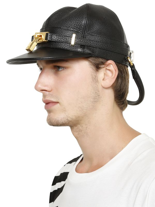 Lyst - Moschino Padlock Leather Baseball Hat in Black for Men 359bc32ba5d9