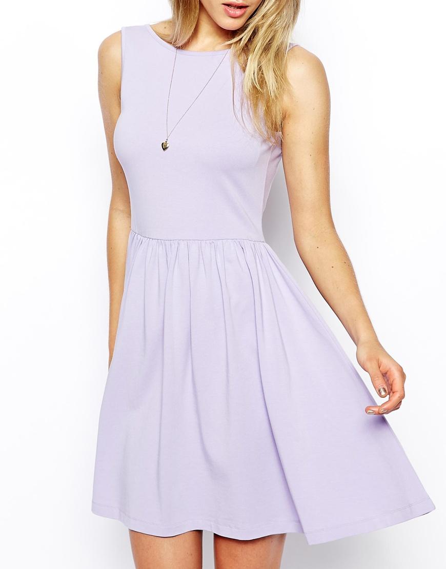 c942cb45dc9 ASOS Mini Sundress With Scoop Back in Purple - Lyst